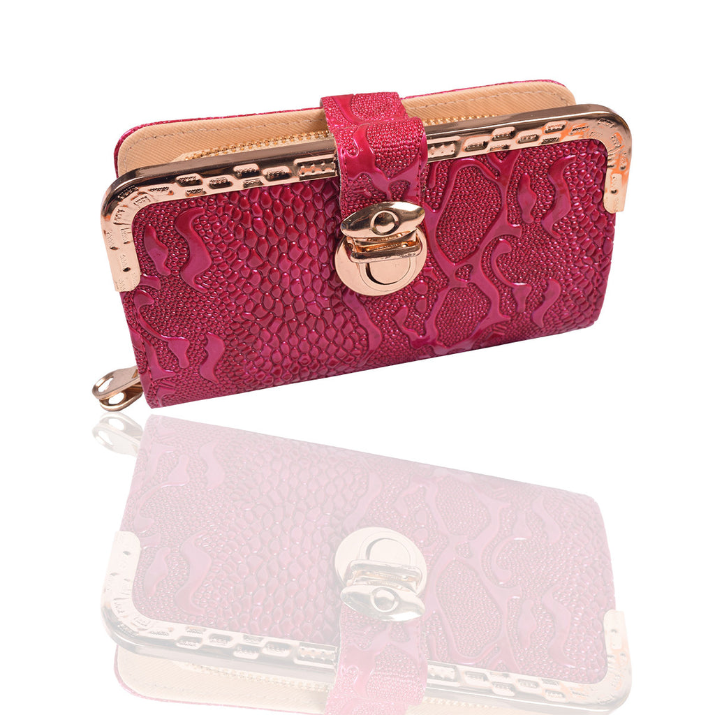 Ladies Stylish Double Zip Purse-Magenta-LP21