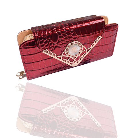 Ladies Stylish Double Zip Purse-Red-LP15