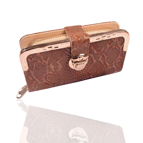 Ladies Stylish Double Zip Purse-Brown-LP16