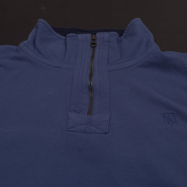 "Exclusive Men's ""Mark & Spancer"" Cut Label Raglan Sleeve Zipper Sweat Shirt -Blue Melange-(RRR)"