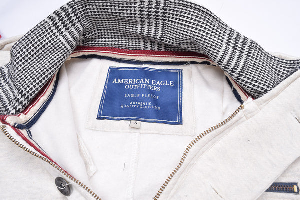"Men's ""American Eagle"" Full Fashion Zipper Fleece Stylish Jacket- Off White Zipper Style-AEZJ33"