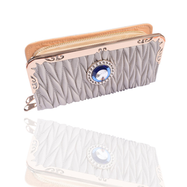 Ladies Stylish Double Zip Purse-Off White-LP29