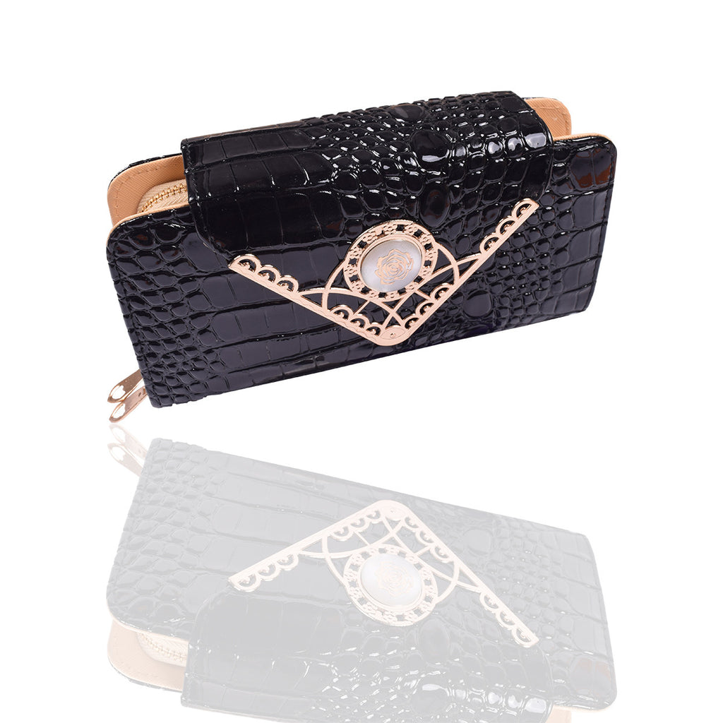 Ladies Stylish Double Zip Purse-Black-LP30