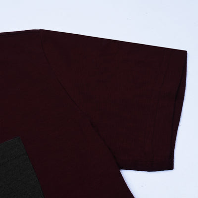 American Eagle Crew Neck Pocket Style Tee Shirt For Men-Dark Burgundy-NA10770