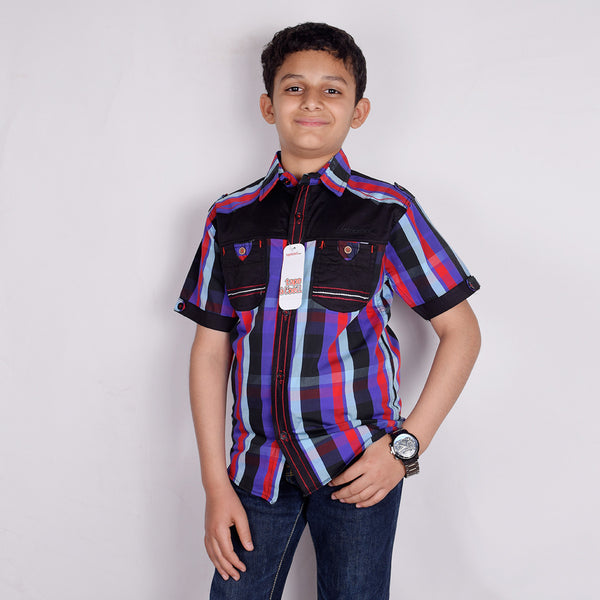 "Kid's ""TAO"" Short Sleeves Multi Color Stripes With Black Panel Stylish Casual Shirt- KC203"
