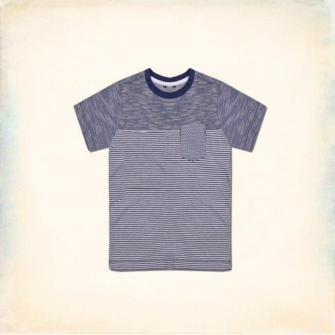 Next Cut Label Crew Neck Half Sleeve T Shirt For Kid-Striped & Melange-BE2141