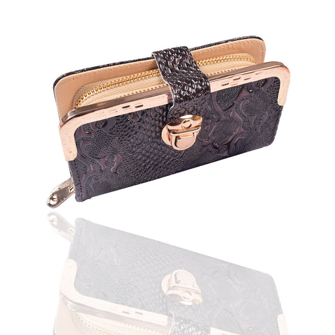 Ladies Stylish Double Zip Purse-Dark Brown-LP19