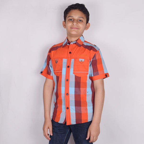 "Kid's ""TAO"" Short Sleeves Orange Sky Blue Stripes Stylish Casual Shirt- KC205"