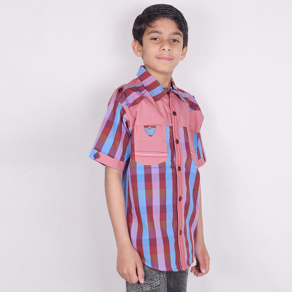 "Kid's ""TAO"" Short Sleeves Light Orange Burgundi Stripes Stylish Casual Shirt- KC207"