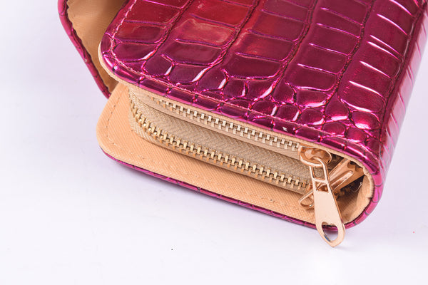 Ladies Stylish Double Zip Purse-Violet Red-LP11