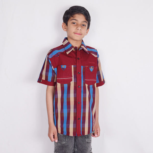 "Kid's ""TAO"" Short Sleeves Red Sky Blue Stripe Stylish Casual Shirt- KC209"