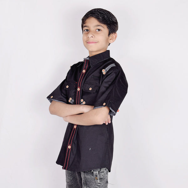 "Kid's ""TAO"" Short Sleeves  Stylish Casual Shirt Black - KC211"