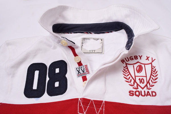 NEXT Rugby Polo for Men Cut Label -White & Red-RPS01