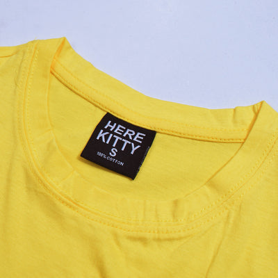 brandsego - Here Kitty Single Jersey Crew Neck Tee Shirt For Women-Yellow-BE9665