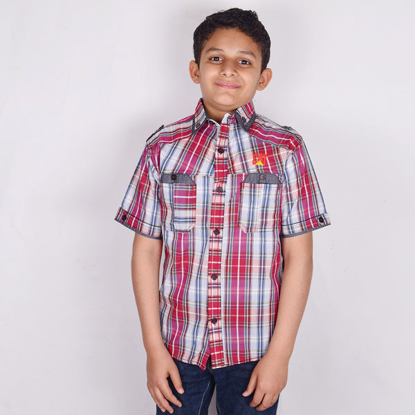 "Kid's ""CAT"" Short Sleeves Multi Color Stylish Casual Shirt - KC214"