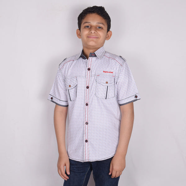 "Kid's ""TAO"" Short Sleeves White Dotted Stylish Casual Shirt - KC217"