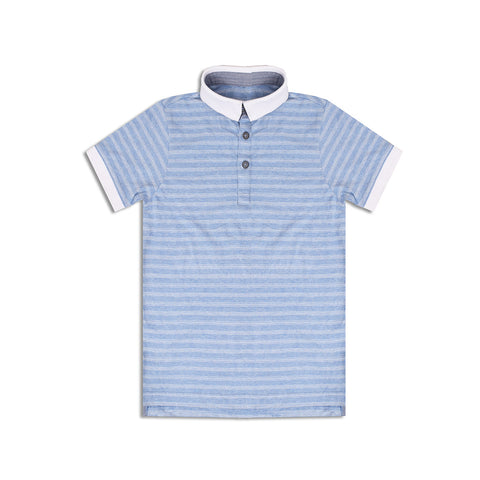 Next Polo Shirt For Boys Cut Label-Sky Blue Stripe-BE2304