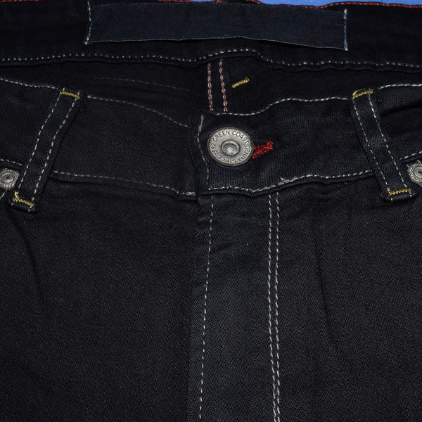 "Men's ""Green Coast"" Black Faded Wash Slim Fit Strech Denim - D88"