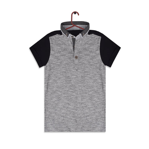 George Half Sleeve Polo Shirt for Kid Cut Label-Gray Melange & Black-BE2300