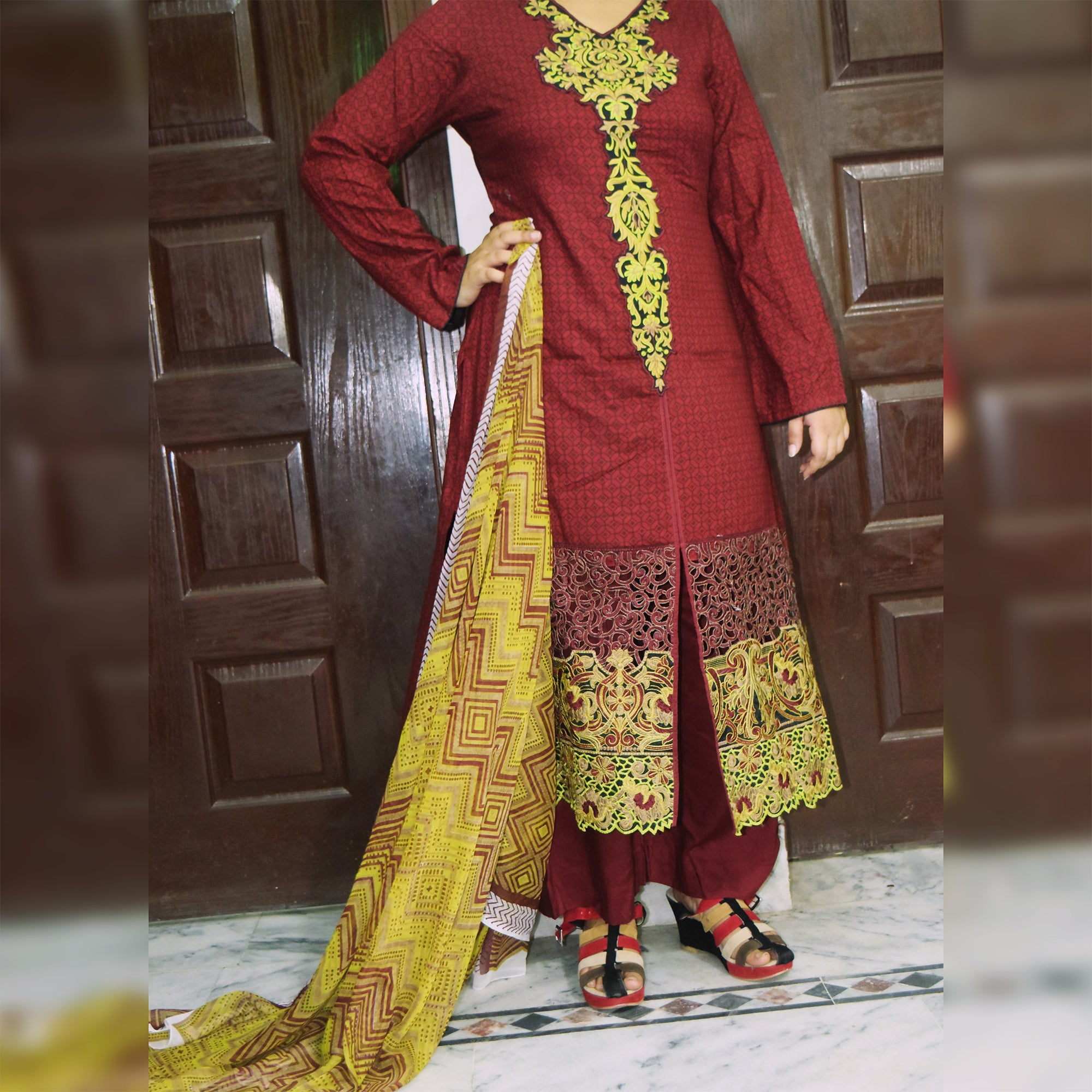 Classic 3 Piece Stitched Suit For Women-SK0301