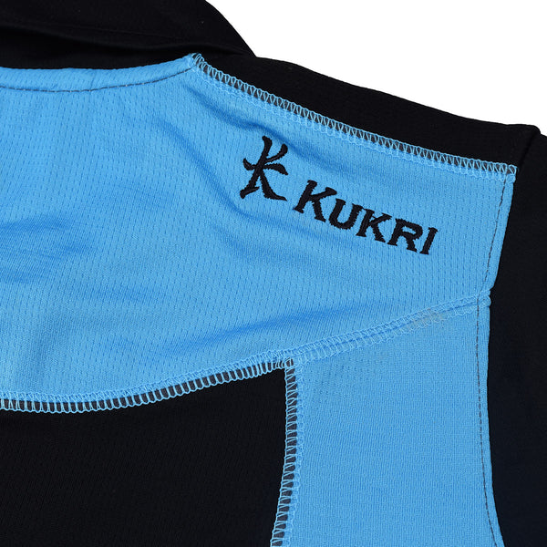 KUKRI Stylish Polo Shirt For Kids- Black & Sky Blue -BE1040