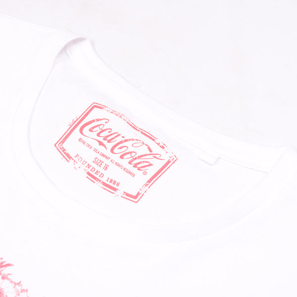 Ladie's Cocacola Cut Label Stylish T Shirt-White-SB2023