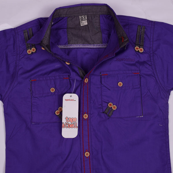 "Kid's ""TAO"" Short Sleeves Purple Stylish Casual Shirt - KC219"