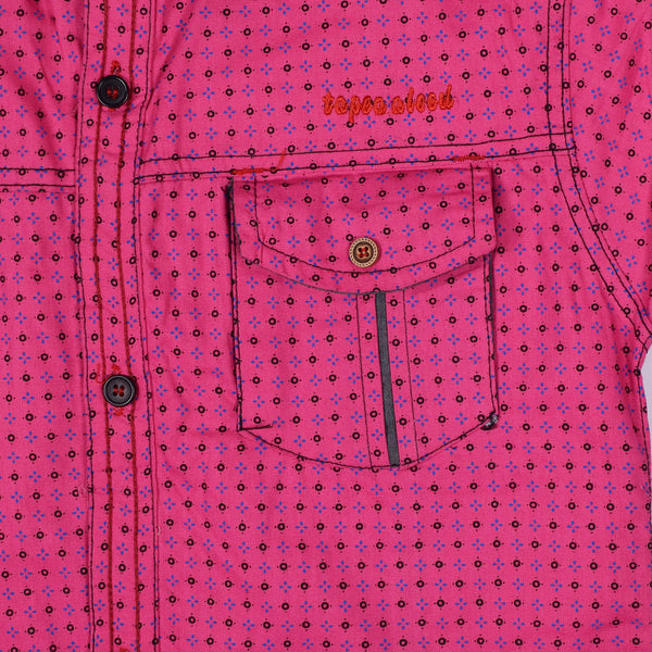 "Kid's ""TAO"" Short Sleeves Pink Dotted Stylish Casual Shirt - KC221"