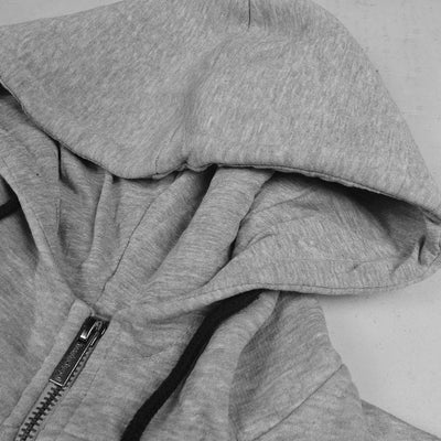 Twisted Soul Long Lined Zipper Hoodie-Gray-NA156
