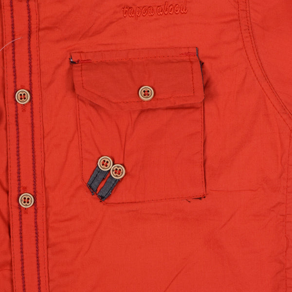 "Kid's ""TAO"" Short Sleeves Orange Stylish Casual Shirt - KC220"