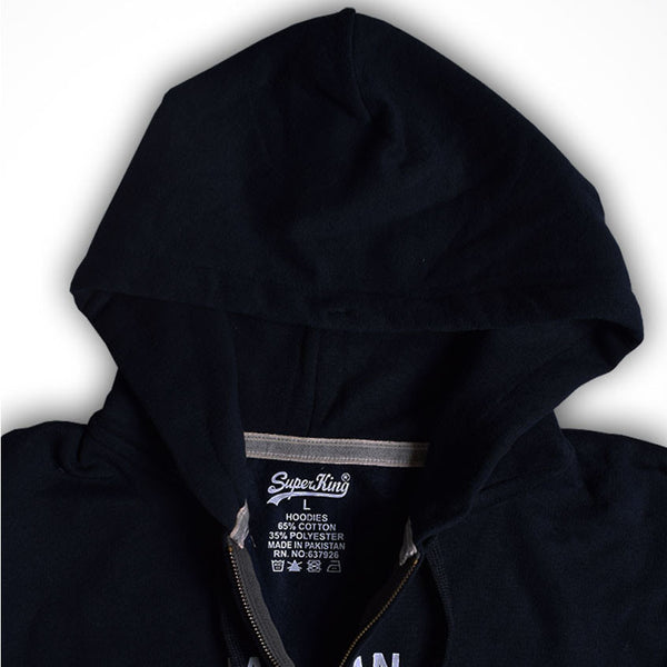 "Men's ""Super King"" Printed Zipper Hoodie-Navy-602"