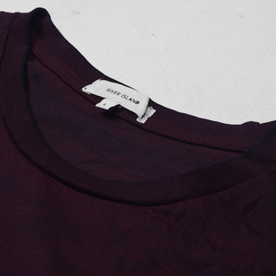River Island Burnout Wash Short Sleeve Tee Shirt For Men-Dark Maroon Melange-NA6815