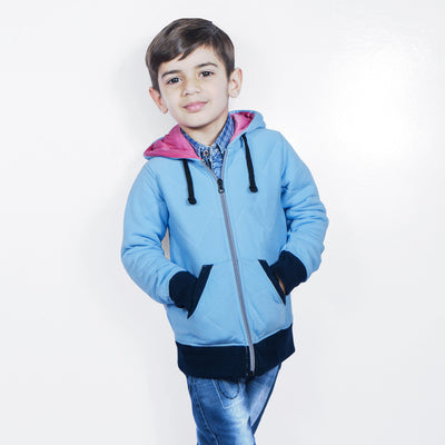 Tommy Hilfiger Quilted Zipper Hoodie For Kids-Sky Blue-NA10128