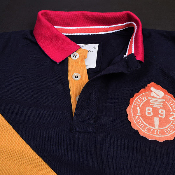 Mens Louis Vicaci Milano Muscel Fit Navy-Yellow  Rugby Polo Shirts-RP12