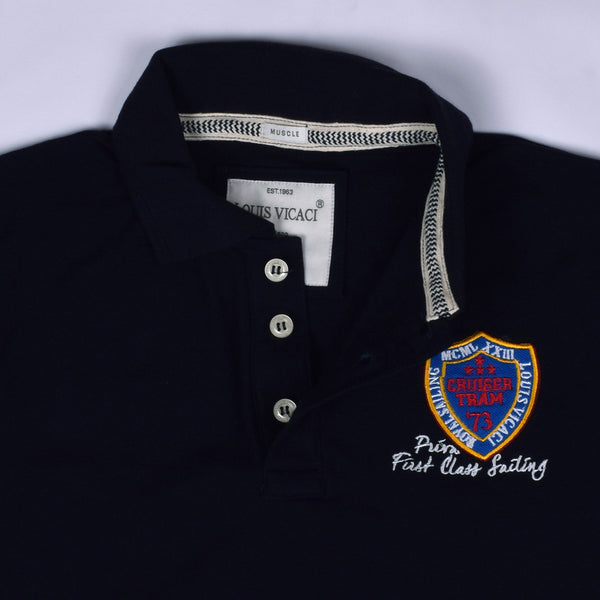 "Men's ""LOUIS VICACI"" Milano Muscle Fit Dark Navy Polo With Royal Aplic White & Red Embroidery- LV08"