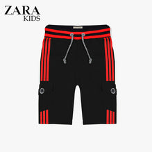 Zara Boys Cargo Short for Kids -Black With Red Stripes-ZKCS23
