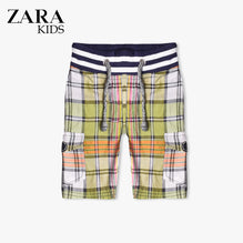 Zara Boys Check Cargo Short for Kids -Green- ZKCS15
