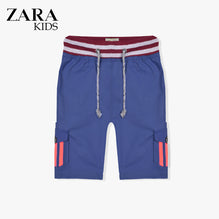 Zara Boys Cargo Short for Kids -Blue With Pink Stripes-ZKCS30