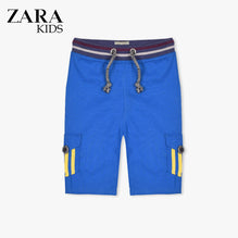 Zara Boys Cargo Short for Kids -Royal Blue With Yellow Stripes-ZKCS42