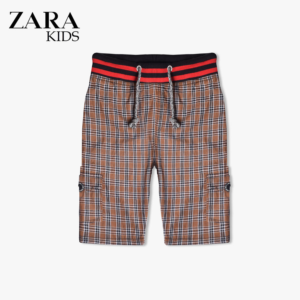 Zara Boys Check Cargo Short for Kids -Brown- ZKCS18