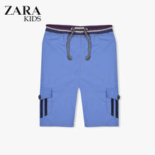 Zara Boys Cargo Short for Kids -Blue With Dark Navy Stripes-ZKCS40