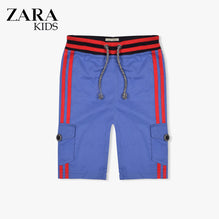 Zara Boys Cargo Short for Kids -Blue With Red Stripes-ZKCS33