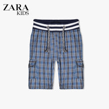 Zara Boys Check Cargo Short for Kids -Blue- ZKCS17