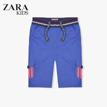 Zara Boys Cargo Short for Kids -Blue With Pink Stripes-ZKCS35