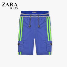 Zara Boys Cargo Short for Kids -Blue With Perrot Stripes-ZKCS34