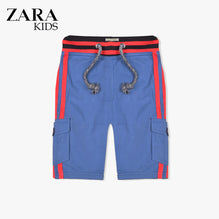 Zara Boys Cargo Short for Kids -Blue With Red Stripes-ZKCS26