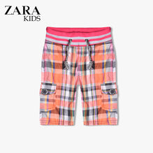 Zara Boys Check Cargo Short for Kids -Orange- ZKCS16