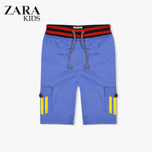 Zara Boys Cargo Short for Kids -Blue With Yellow Stripes-ZKCS46