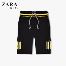 Zara Boys Cargo Short for Kids -Black With Yellow Stripes-ZKCS19