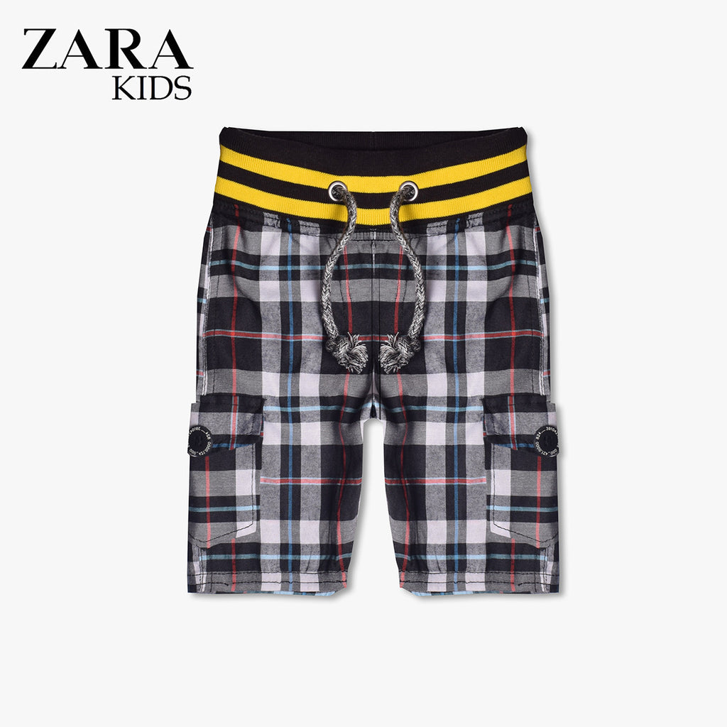Zara Boys Check Cargo Short for Kids -Black & White- ZKCS02